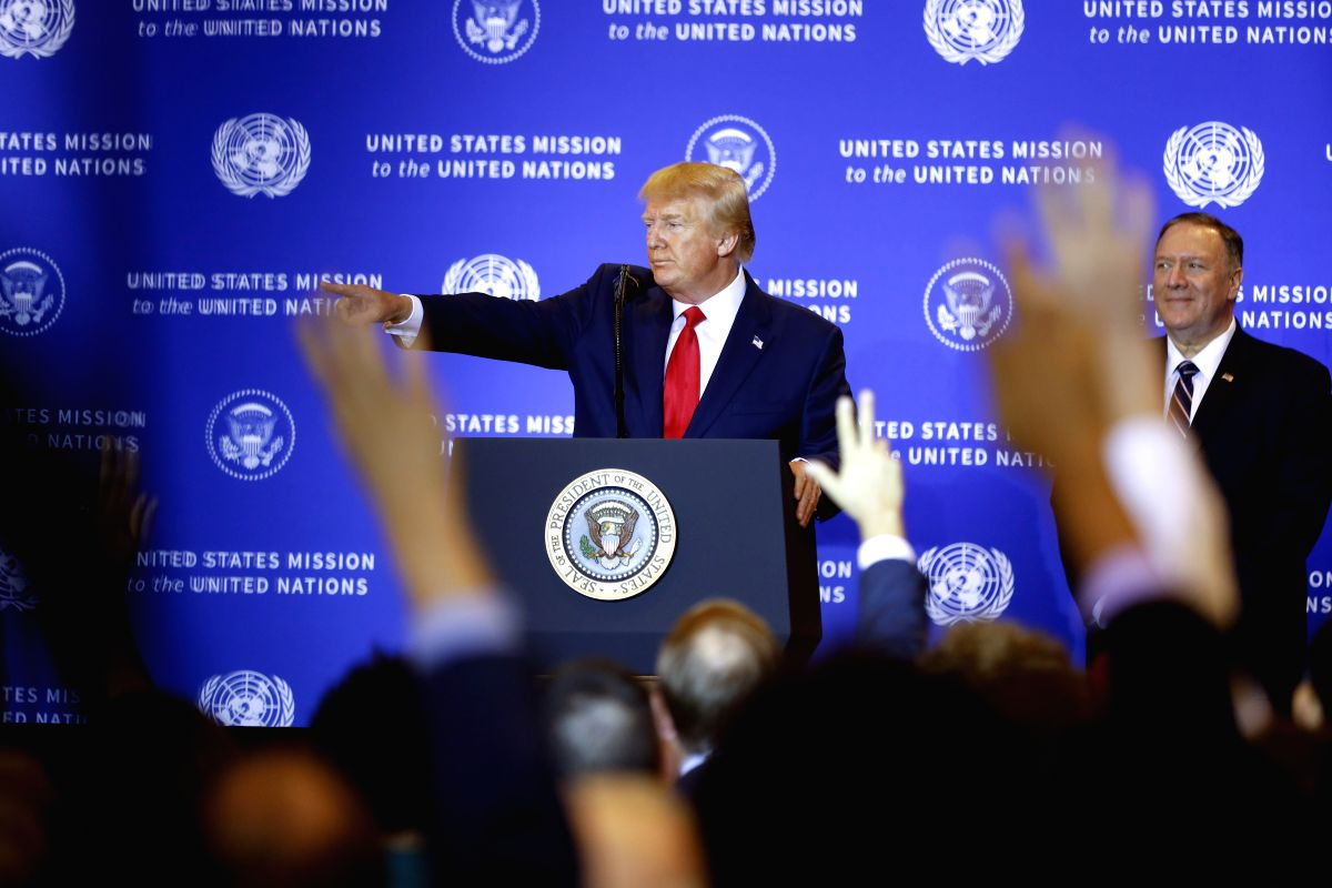 NEW YORK, Sept. 26, 2019 (Xinhua) -- U.S. President Donald Trump attends a press conference in New York Sept. 25, 2019. Donald Trump met with his Ukrainian counterpart Volodymyr Zelensky in New York on Wednesday, a day after U.S. House Speaker Nancy
