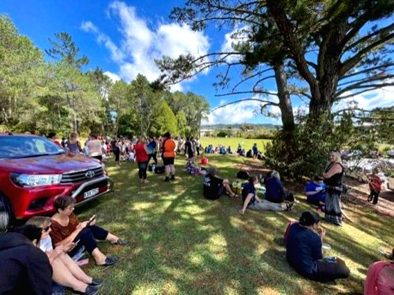 New Zealand: People gather on high ground in Whangarei, New Zealand, March 5, 2021. (Skykiwi/Handout via Xinhua/IANS)