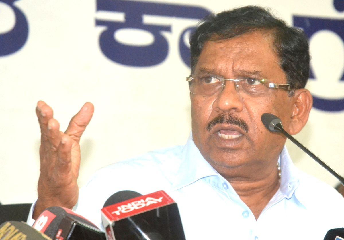 Newly sworn-in Karnataka Deputy Chief Minister G Parameshwara addresses a press conference, in Bengaluru on May 24, 2018.