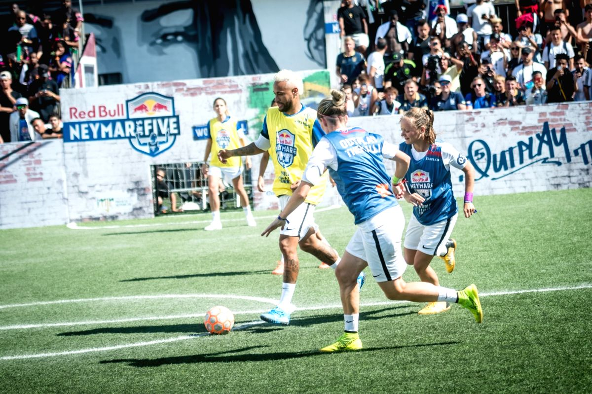 Neymar Praia Grande: Jr displaying his skills during the Red Bull Neymar Jr's Five World Final in Praia Grande, Brazil. Neymar Jr took to the field for the first time since his injury at the Copa America as the two strongest five-a-side football team