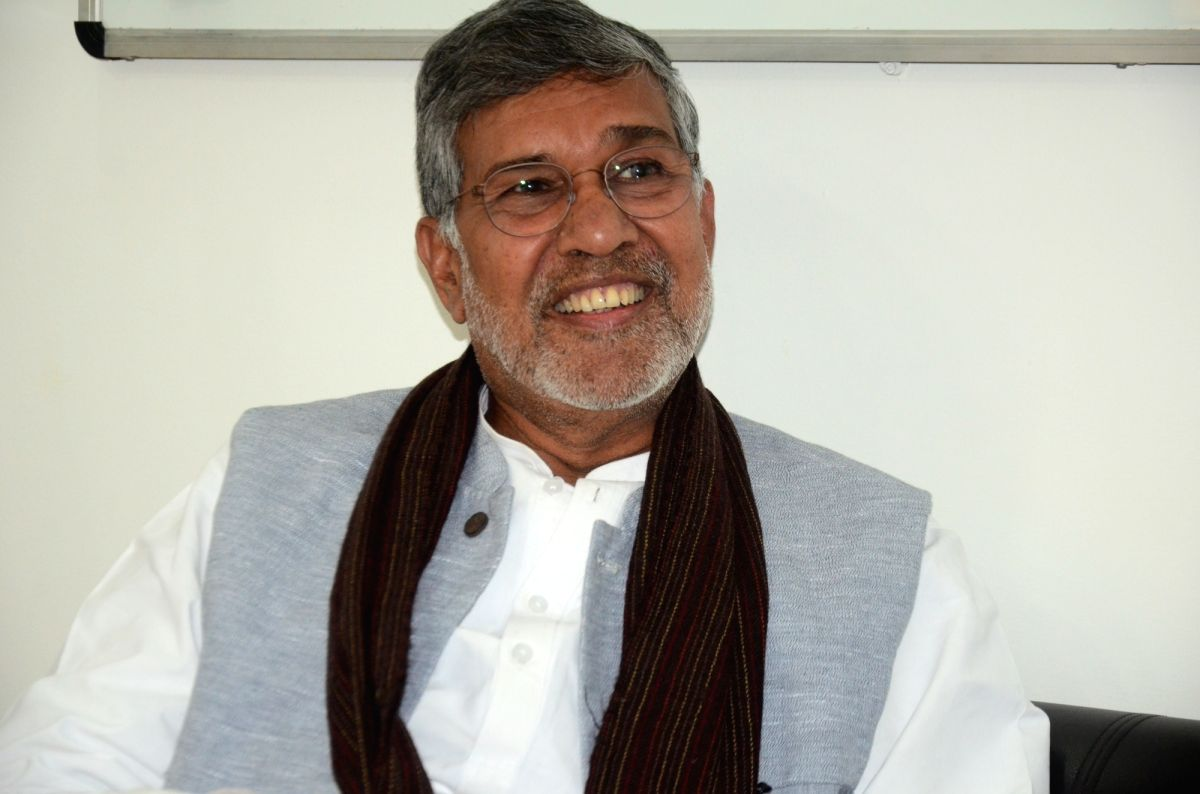 Noida: Nobel laureate Kailash Satyarthi during an interaction with IANS, in Noida on Feb 18, 2020. Saying that online child pornographic content is a big contributor to global trafficking of children, Satyarthi on Tuesday said that support of powerfu