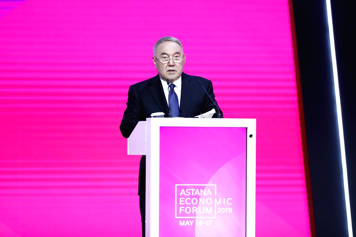 NUR-SULTAN, May 17, 2019 (Xinhua) -- Kazakhstan's first President Nursultan Nazarbayev delivers a speech during the Astana Economic Forum in Nur-Sultan, Kazakhstan, May 16, 2019. (Xinhua/Li Yong/IANS)