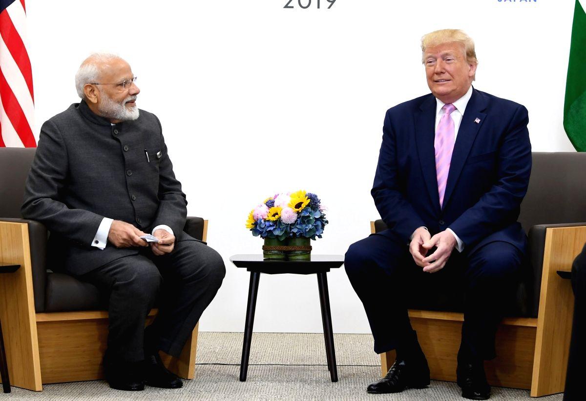 Osaka: Prime Minister Narendra Modi meets US President Donald Trump on the sidelines of the G-20 Summit, in Osaka, Japan on June 28, 2019. (Photo: IANS/PIB)