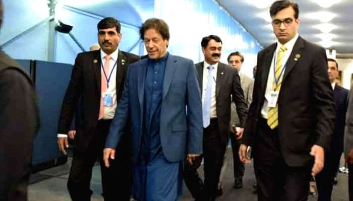Pakistan Prime Minister Imran Khan arrives at Islmabad airport.