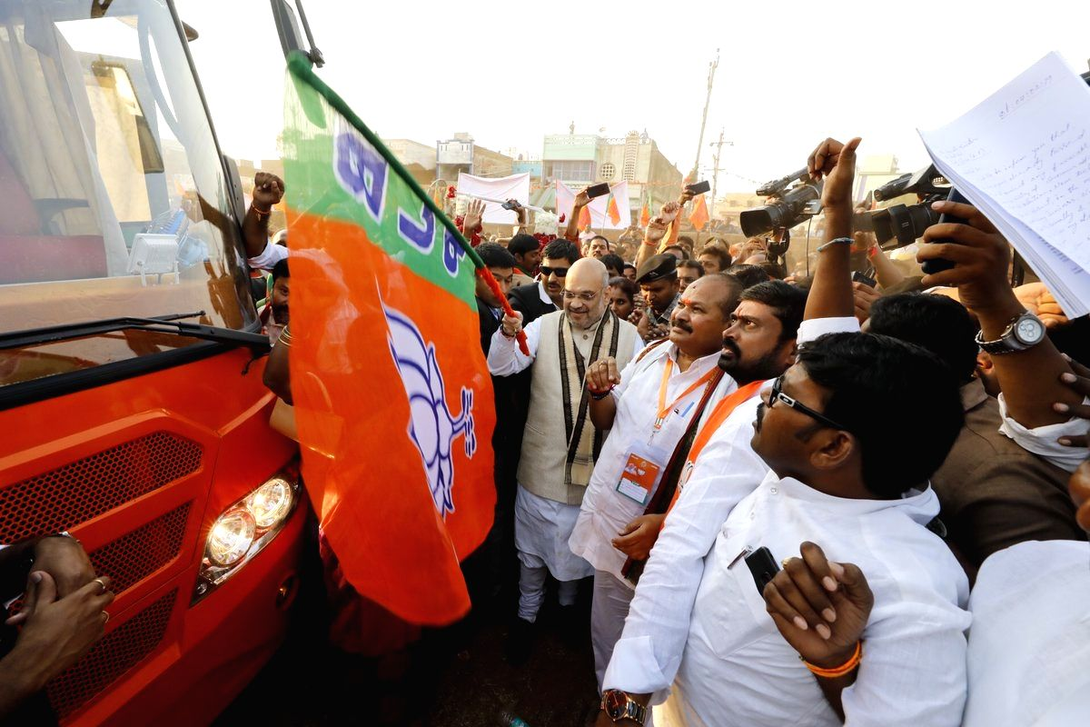 Palasa: BJP chief Amit Shah flags off 'Praja Chaitanya Yatra' in Andhra Pradesh's Palasa, on Feb 4, 2019. (Photo: IANS/BJP)