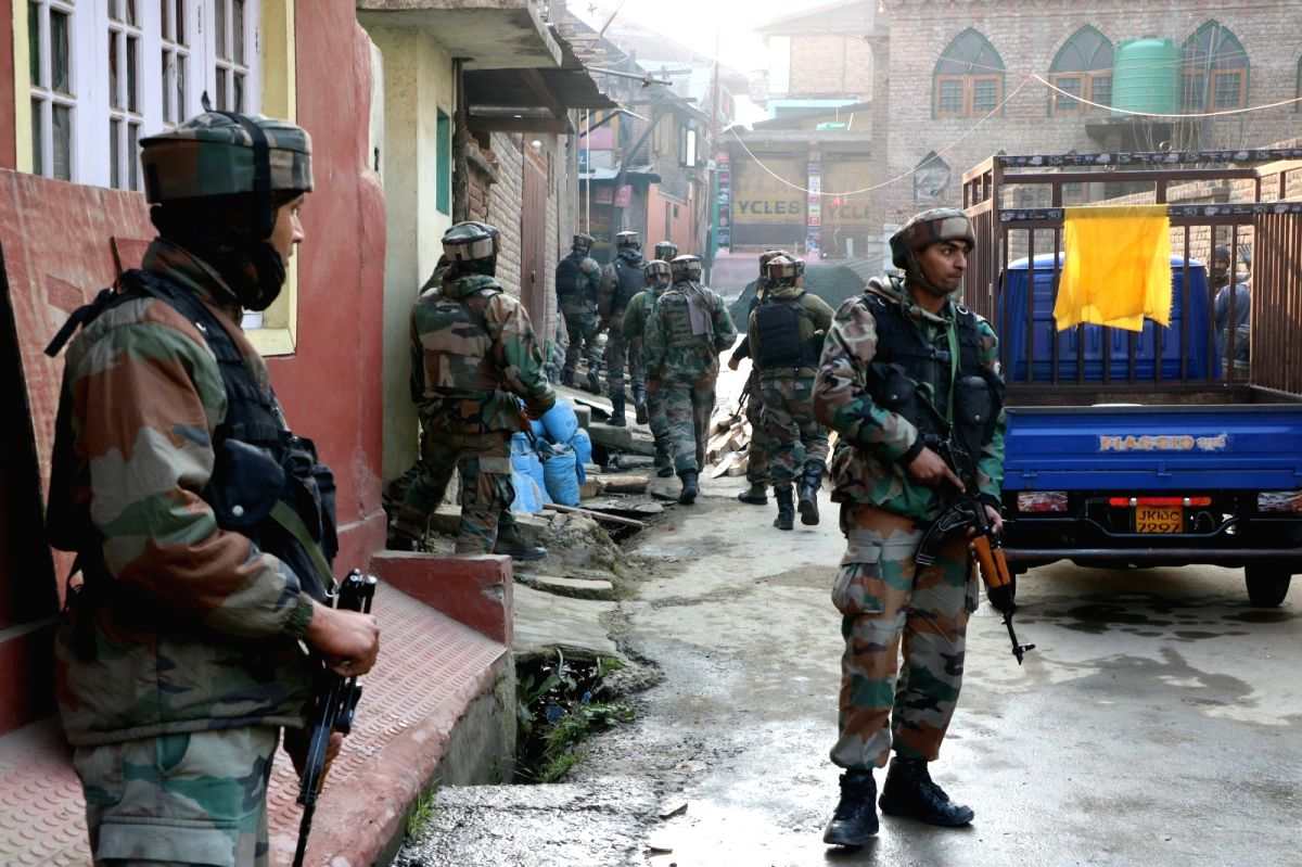 Pampore: Security beefed up after unidentified gunmen fired at an army convoy on the Jammu-Srinagar national highway in Pampore area of Pulwama district on Dec 17, 2016.