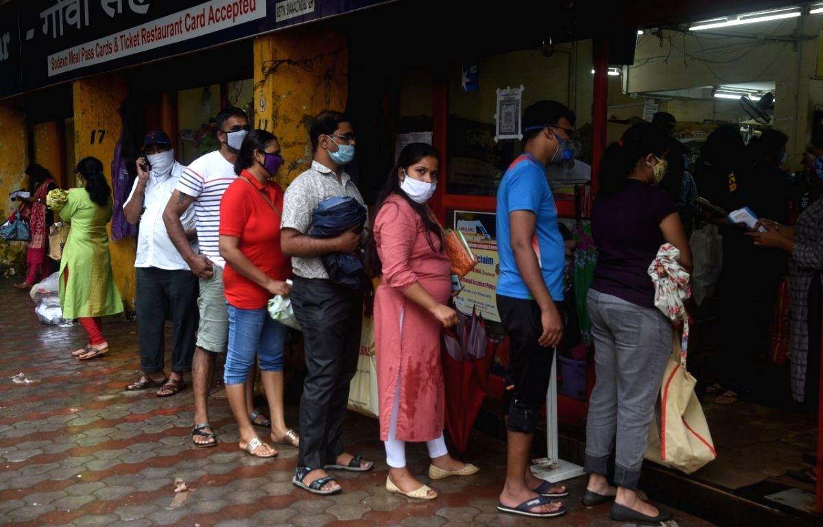 Panaji: A long queue seen outside a store as people indulge in panic buying after Goa Chief Minister Pramod Sawant announced a night curfew in the state from Wednesday night (July 15) to August 10 apart from total shutdown of non-essential public mov
