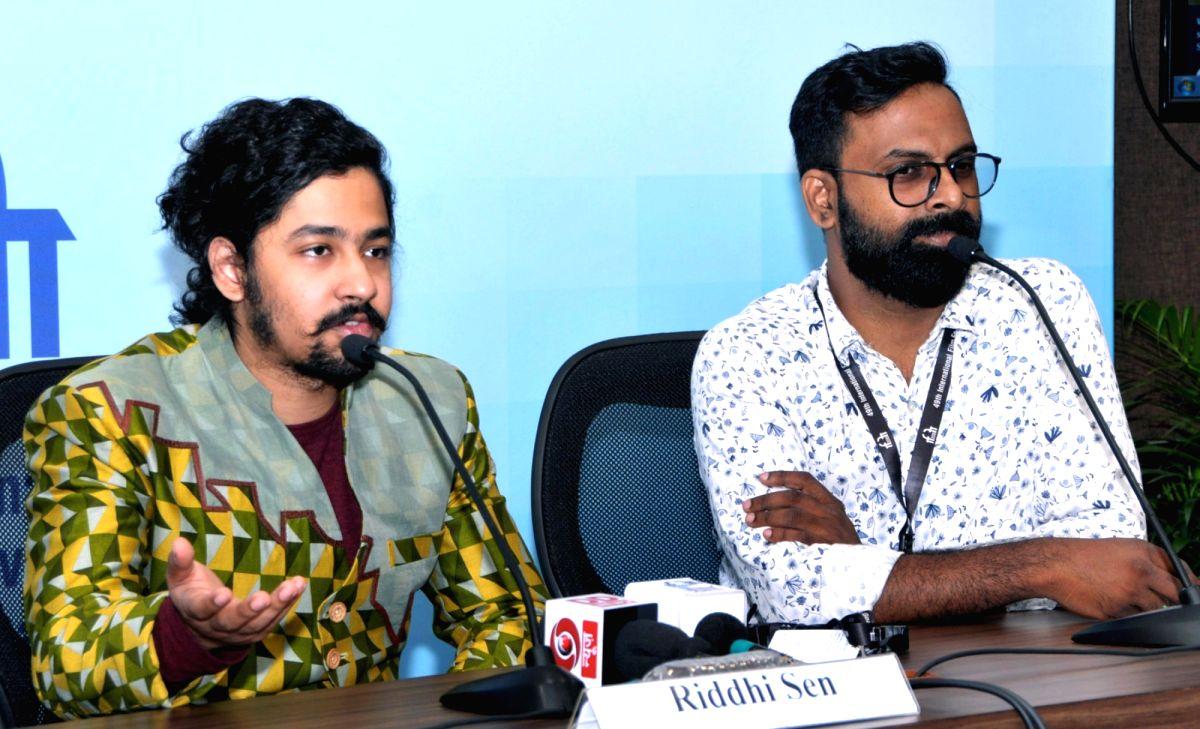 Panaji: Actor Riddhi Sen ('Nagarkirtan') and Director Sandeep Pampally ('Sinjar') at a press conference, during the 49th International Film Festival of India (IFFI-2018), in Panaji, Goa on Nov 25, 2018. (Photo: IANS/P
