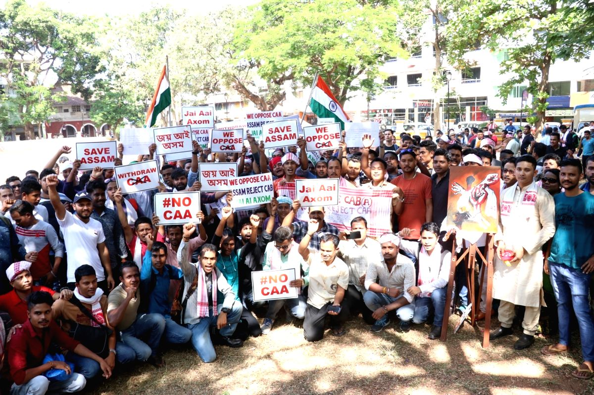 Panaji: Assamese, both settled and employed in Goa, stage a peaceful protest to demand withdrawal of the Citizenship Amendment Act (CAA) 2019 at the Azad Mandan Square in Panaji on Dec 21, 2019.