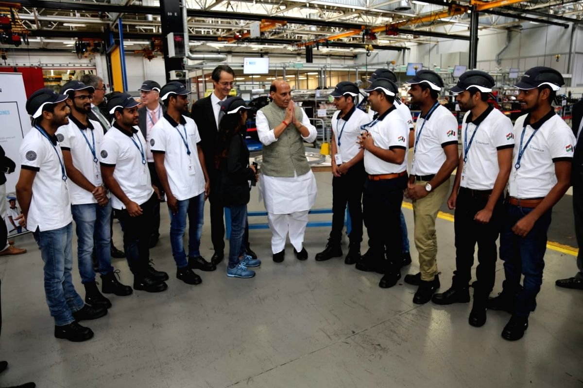 Paris: Defence Minister Rajnath Singh interacts with a group of Engineers from India during his visit to SAFRAN - the engine making facility for Rafale fighter jet in Paris, France on Oct 9, 2019. (Photo: IANS/DPRO)