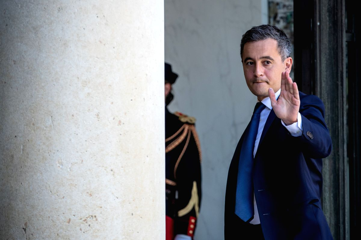 Paris, July 8, 2020 (Xinhua) -- French Interior Minister Gerald Darmanin arrives for the minister council at the Presidential Elysee Palace in Paris, France, 7 July, 2020. The French presidency on Monday unveiled a reshuffled government of mixed prof