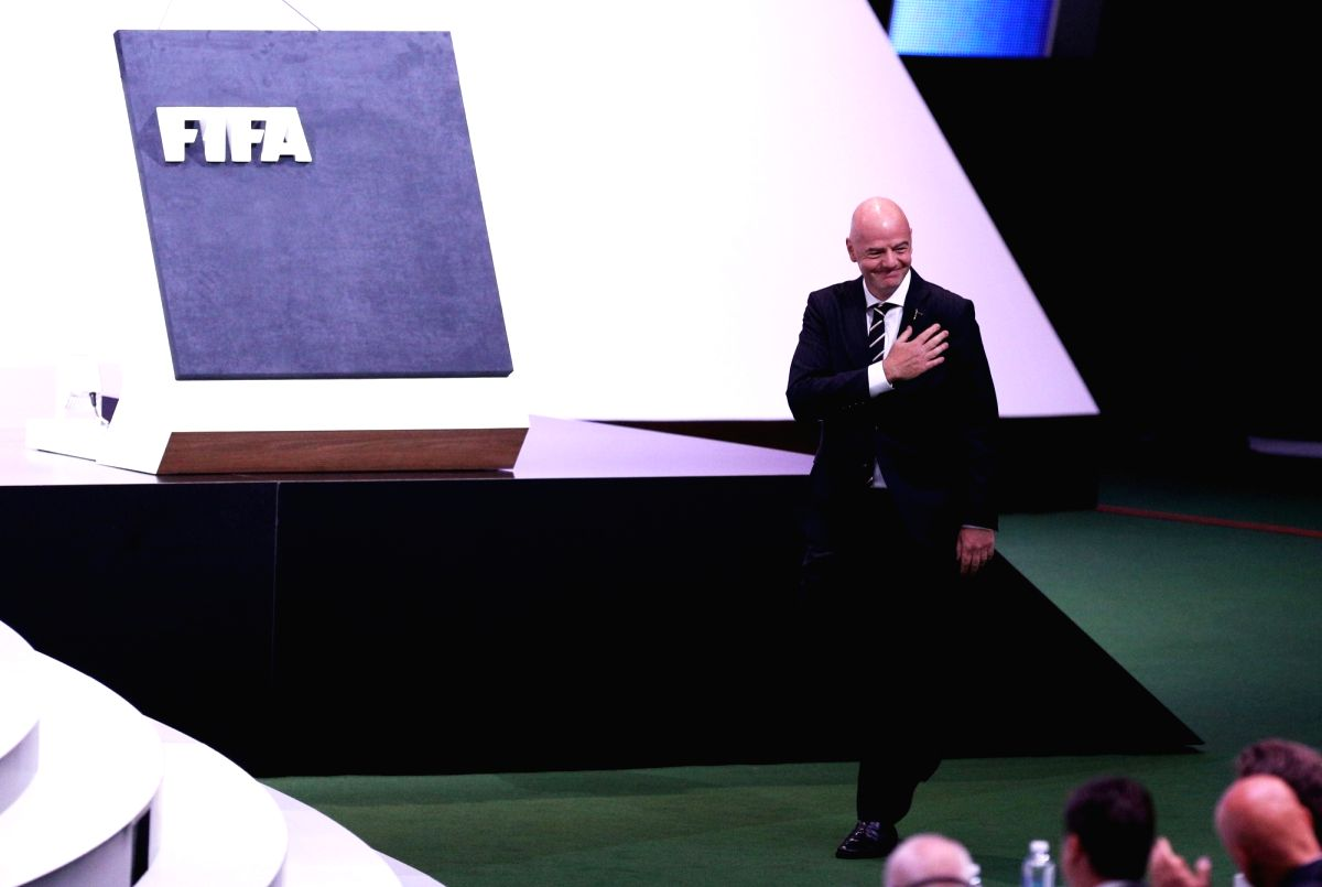 PARIS, June 5, 2019 (Xinhua) -- FIFA President Gianni Infantino walks to deliver a speech after being re-elected for a second term at the 69th FIFA Congress in Paris, France on June 5, 2019. (Xinhua/Gao Jing/IANS)