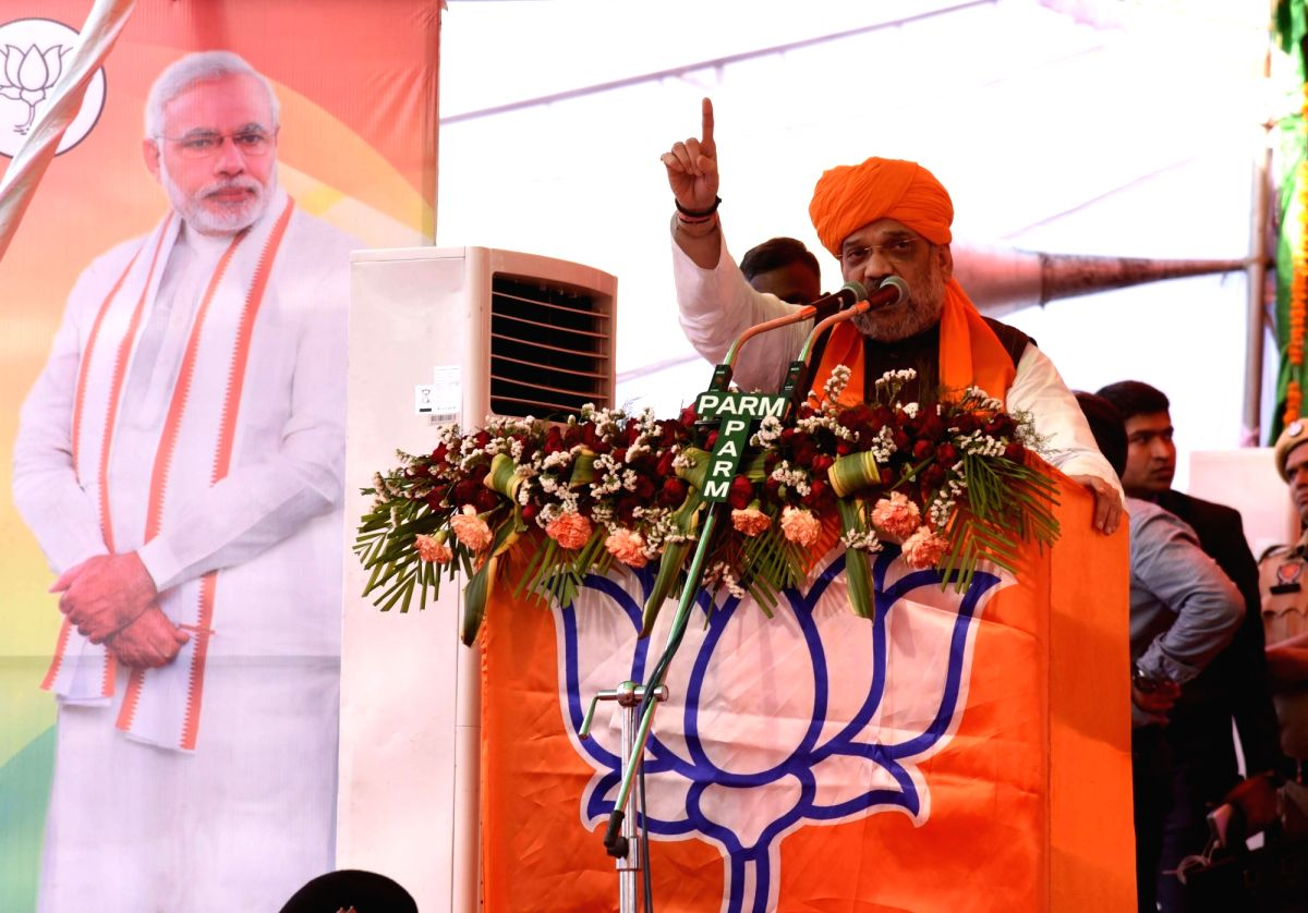 Pathankot: BJP chief Amit Shah addresses a public rally ahead of the 2019 Lok Sabha polls, in Punjab's Pathankot, on May 5, 2019.