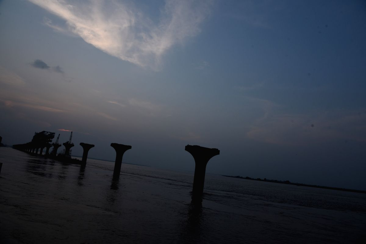 Patna: A view of swollen Ganga river in Patna on Aug 21, 2019.