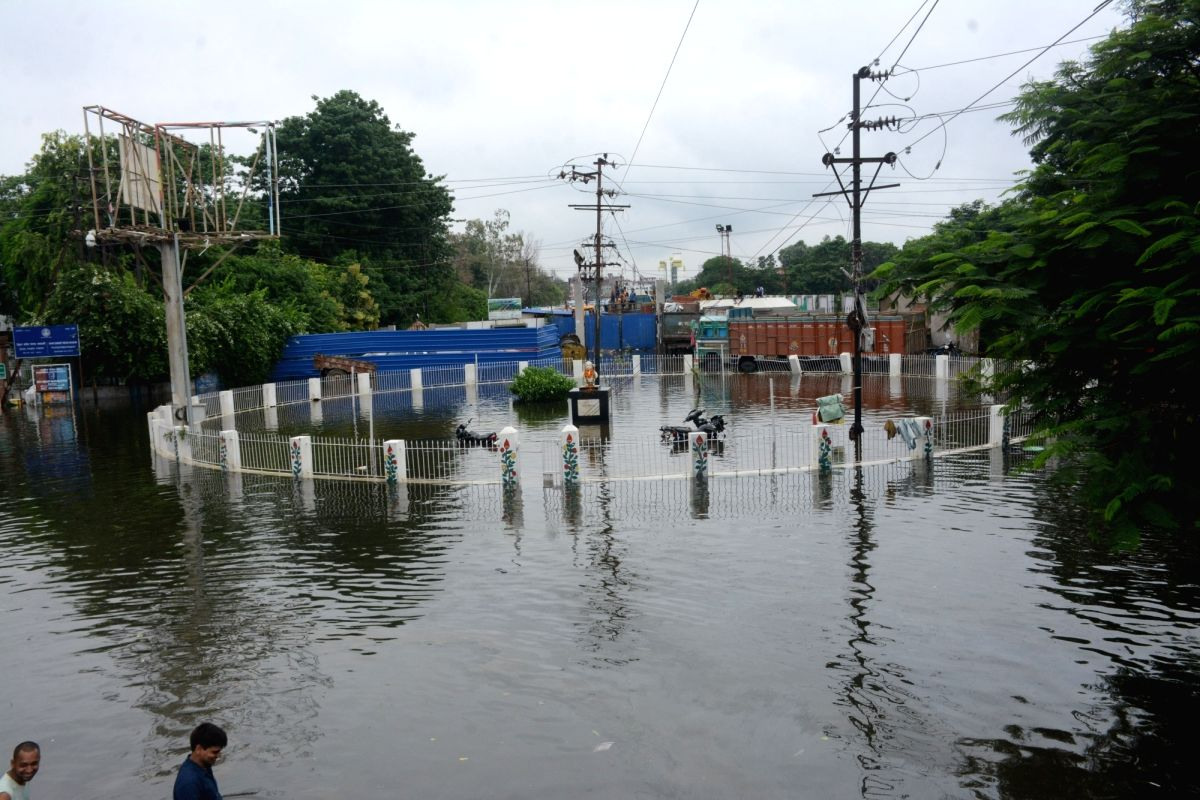 Patna: A view of the flood-affected Patna, on Sep 30, 2019.