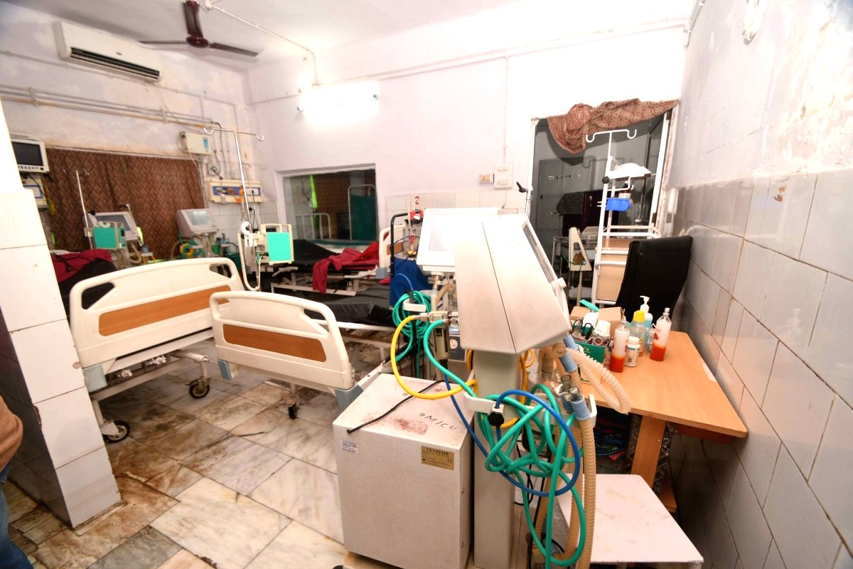 Patna: A view of the Intensive Care Unit (ICU) of Nalanda Medical Hospital after the logged water was cleaned up, in Patna on July 30, 2018.