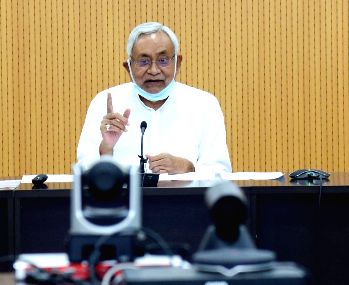 Patna :  Bihar Chief Minister Nitish Kumar addressed Press Conference in Patna on Saturday 19 June 2021. (Photo:  Indrajit Dey/ IANS)