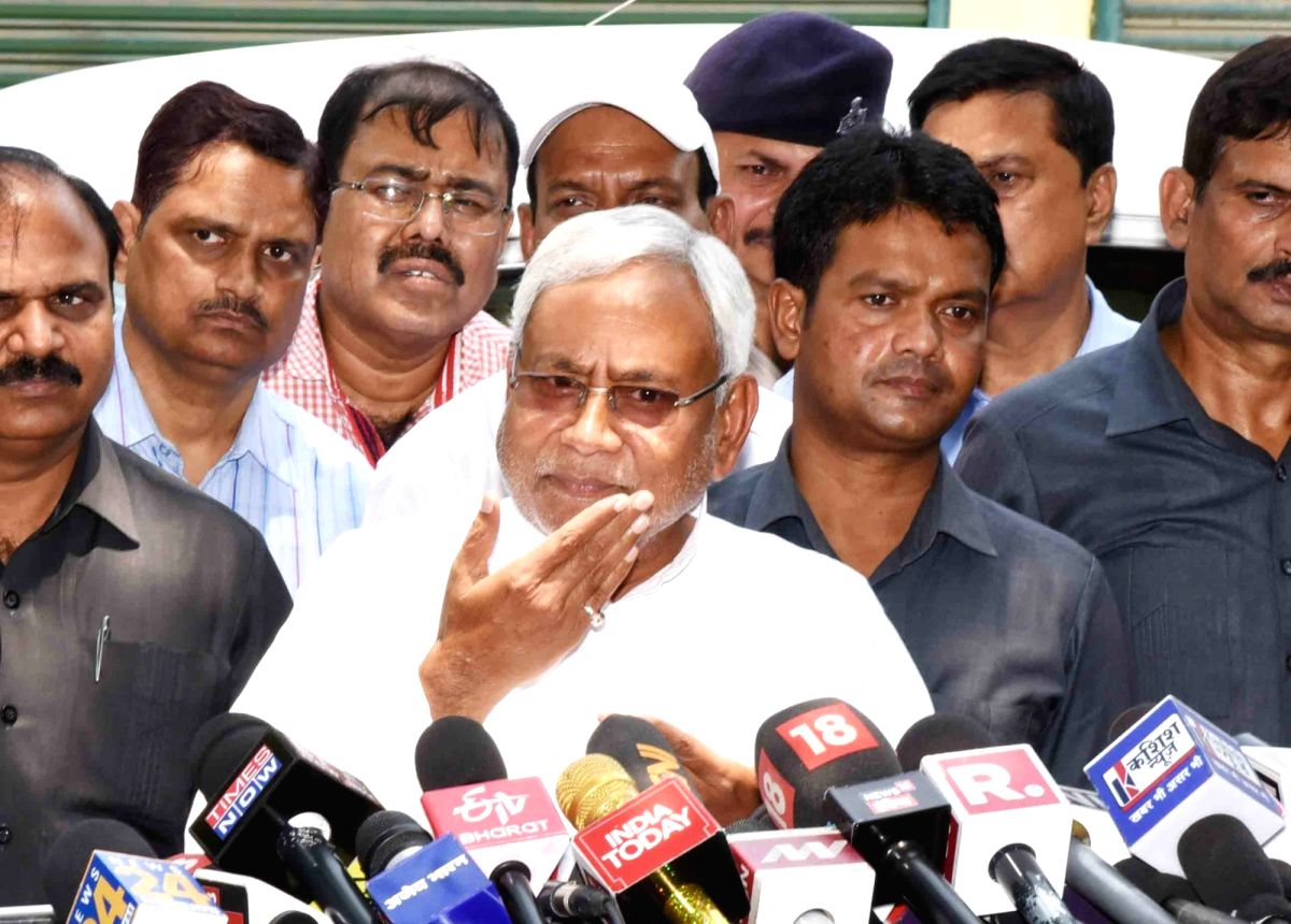 Patna: Bihar Chief Minister Nitish Kumar addresses a press conference in Patna on May 31, 2019.