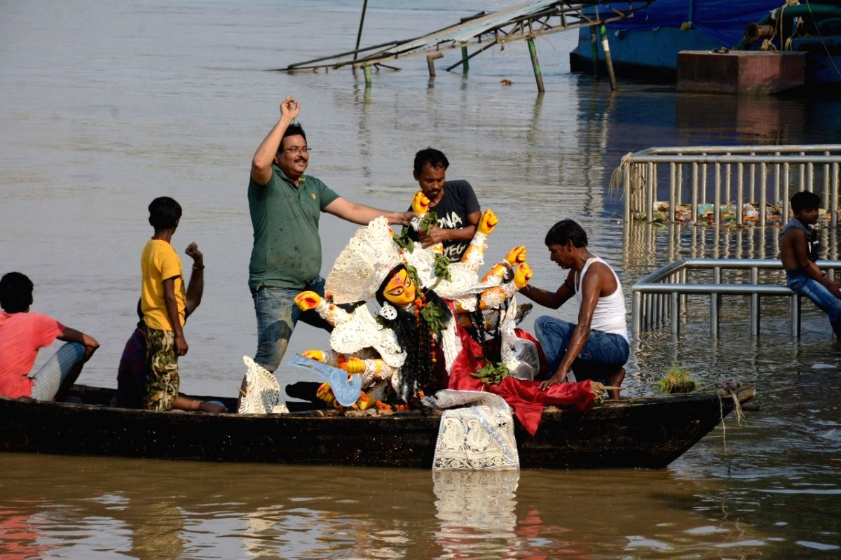 Immersions of idols of goddess Durga underway