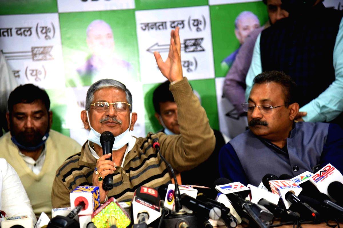 Patna: JD-U leader Lalan Singh addresses a press conference, in Patna on Jan 10, 2021. (Photo: Indrajit Dey/IANS)