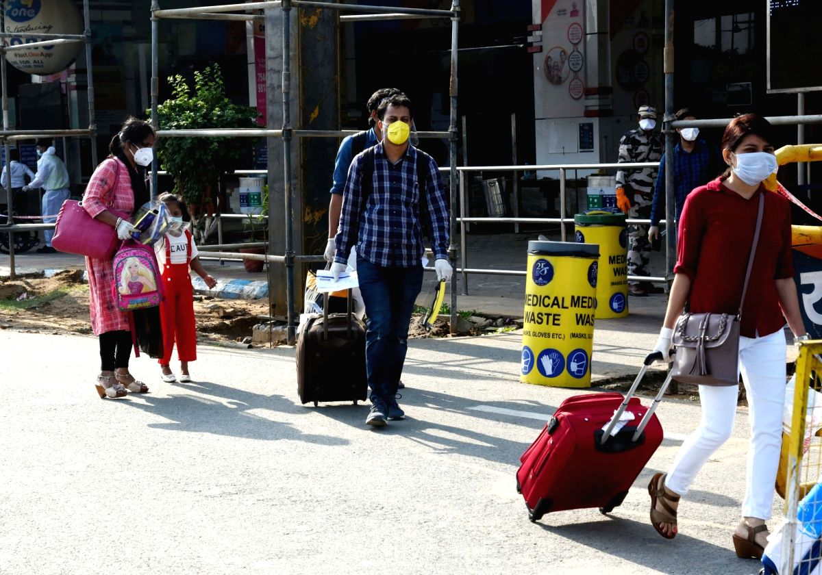 Patna: Passengers arrive at the Jai Prakash Narayan International Airport in Patna following the resumption of domestic flights, on the first day of the fifth phase of the nationwide lockdown imposed to mitigate the spread of coronavirus, on June 1,