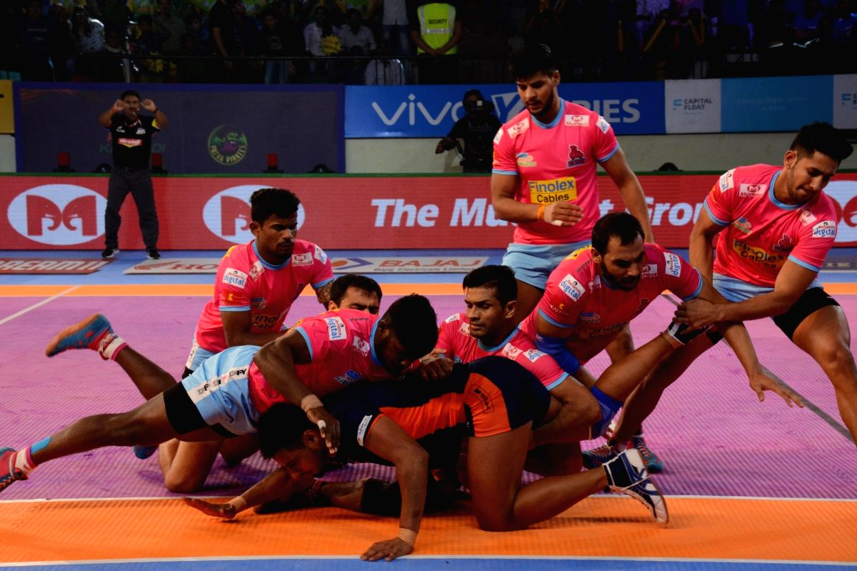:Patna: Players in action during a Pro Kabaddi League 2018 match between Jaipur Pink Panthers and Bengal Warriors at Patliputra Sports complex in Patna on Oct 27, 2018. .