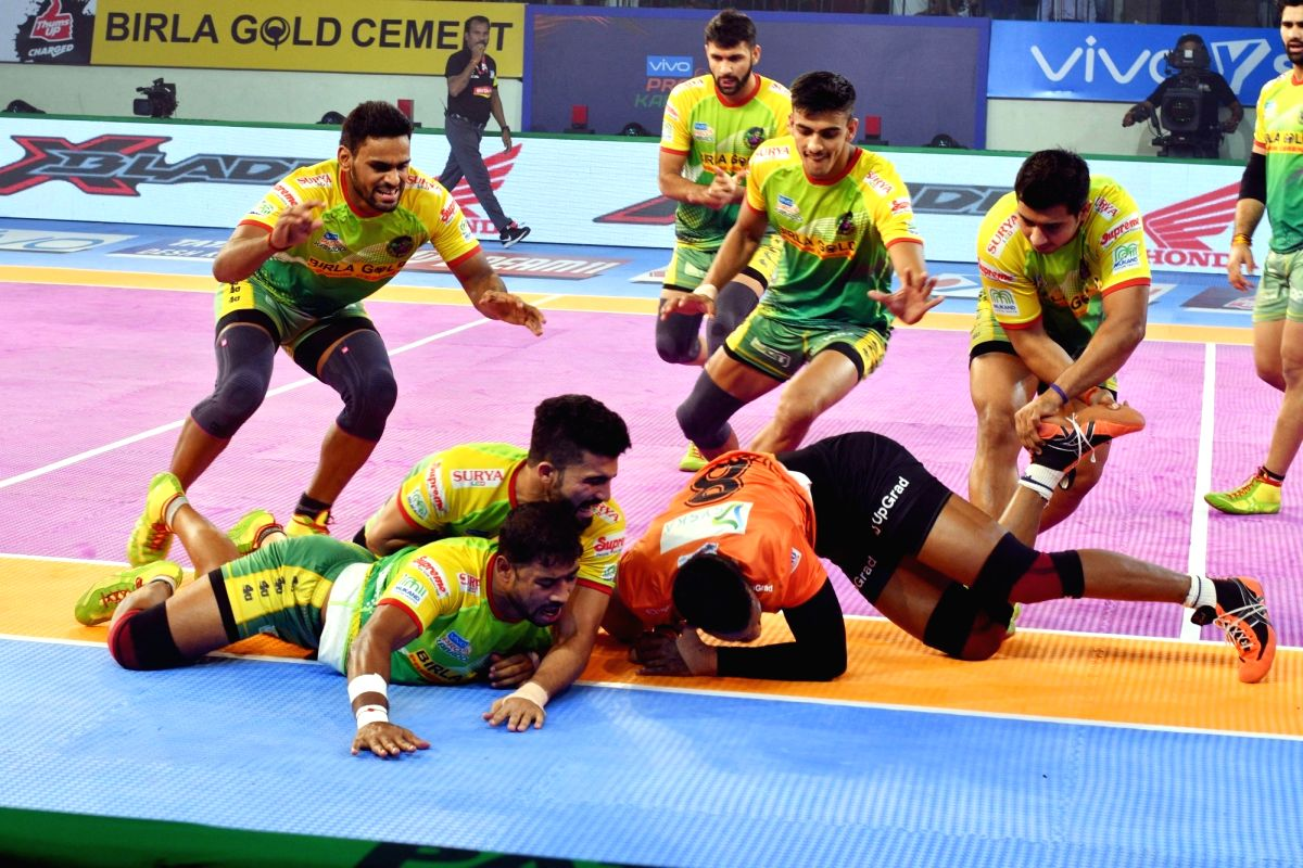 : Patna: Players in action during a Pro Kabaddi League 2018 match between Patna Pirates and U Mumba at Patliputra Sports complex in Patna on Oct 27, 2018. .