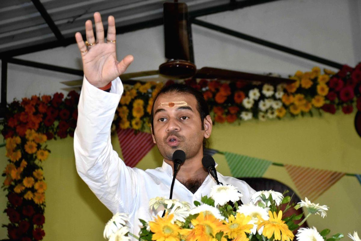 Patna: RJD leader Tej Pratap Yadav, addressing the RJD Silver Jubilee Foundation Day function at RJD Party office in Patna, on Monday, July 05, 2021.(Photo: Indrajit Dey/IANS)
