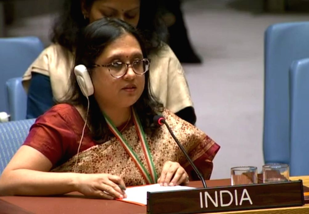 : Paulomi Tripathi, a First Secretary at India's UN Mission speaks at the United Nations Security Council debate on Women, Peace and Security on Thursday, Oct. 25, 2018. .
