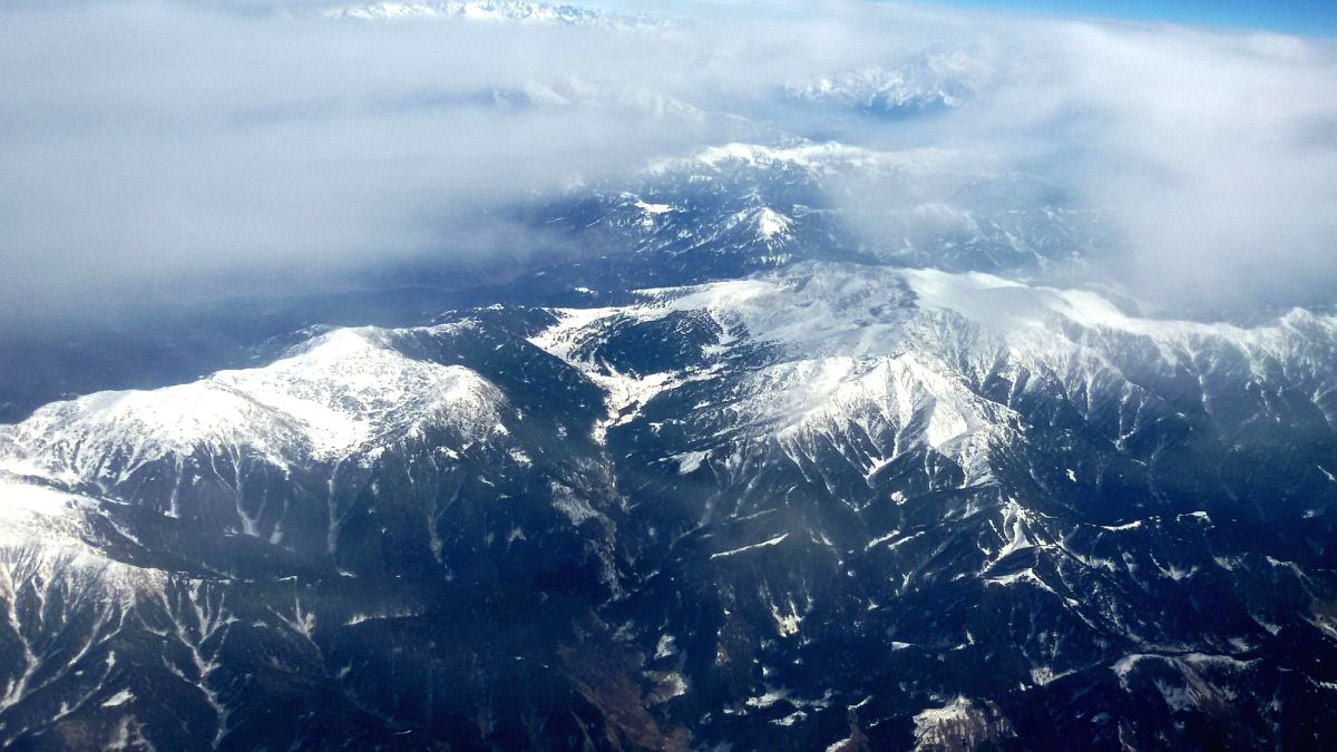 Pir Panjal: An aerial view of the snow clad Pir Panjal Range in Jammu and Kashmir.