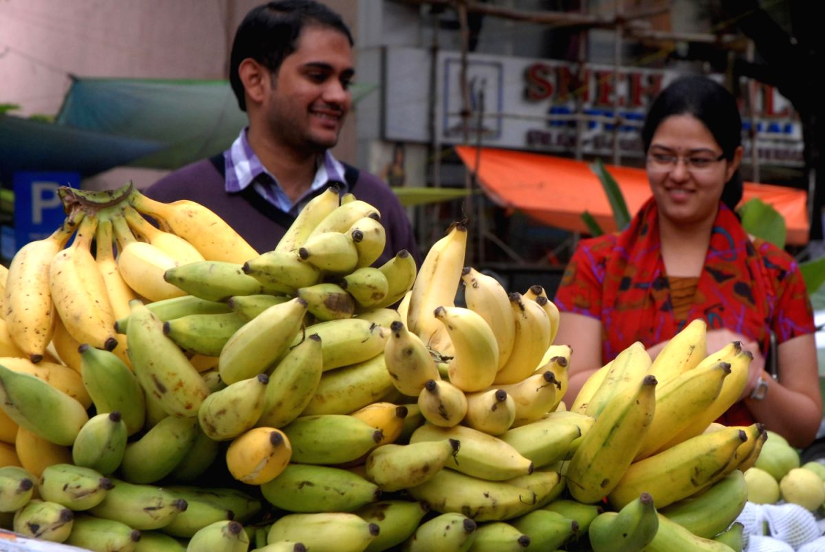 Fruits for the fifth day and  don't forget those ripe and fresh bananas. A must for the prasadam platter!