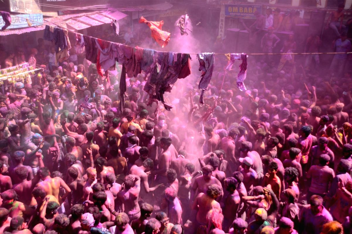 "Pushkar: People celebrate ""Kapda-Phad"" -cloth tearing- Holi in Pushkar of Rajasthan."