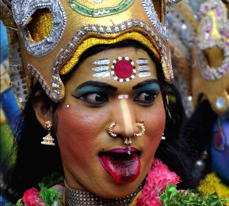 Performers during the Bonalu festival in Secunderabad. Bonalu is a Hindu folk festival of the Telangana region.