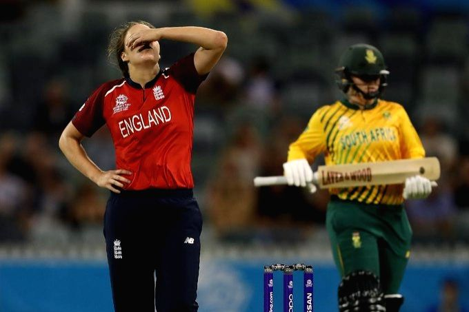 Perth: England captain Heather Knight reacts during ICC Women's T20 World Cup between England and South Africa at Perth, Australia on Feb 23, 2020. (Photo: Twitter/@T20WorldCup)