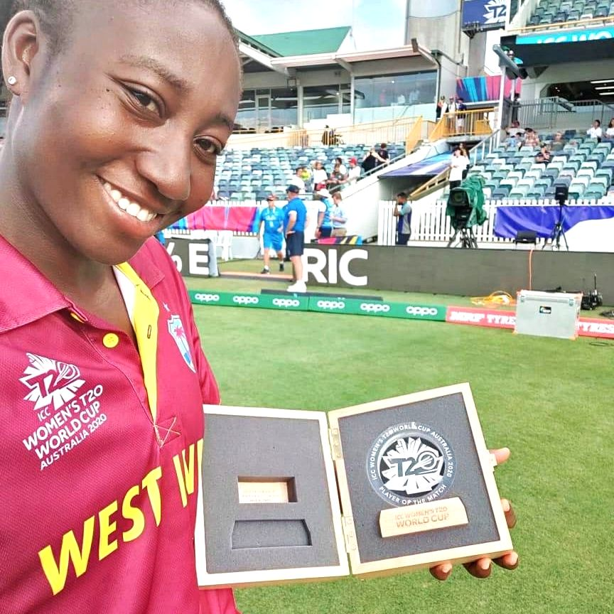 Perth: West Indies' Stafanie Taylor with the player of the match trophy after winning the ICC Women's T20 World Cup 2nd match against Thailand at Western Australian Cricket Association stadium, Perth on Feb 22, 2020. (Photo: Twitter/@T20WorldCup)