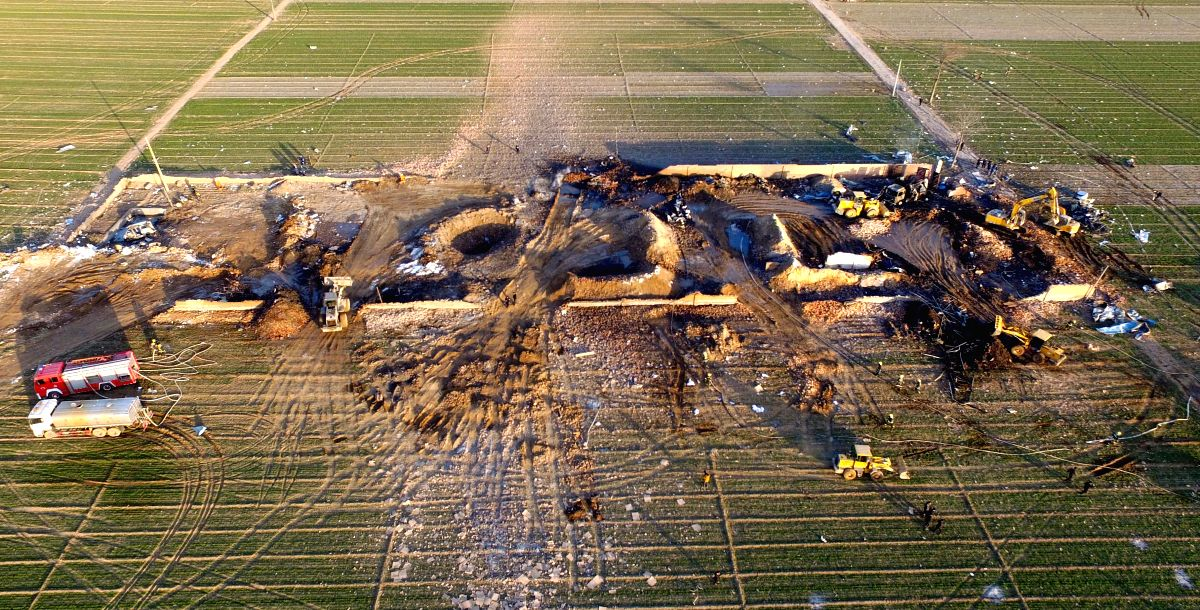 Photo taken on Jan. 14, 2016 shows the explosion site in Tongxu County of Kaifeng City, central China's Henan Province. The number of victims killed by an ...