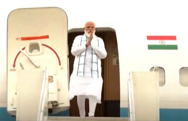 PM Modi lands in Hyderabad, on way to Bharat Biotech.