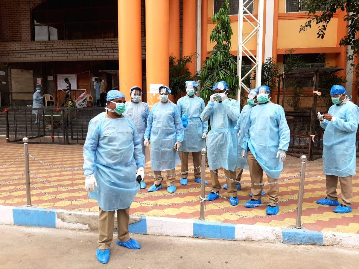 Policemen at Hyderabad's Gandhi Hospital