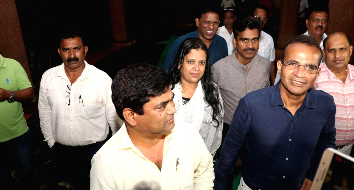 Porvorim: 10 Congress MLAs including Chandrakant Kavlekar,�Jennifer Monserrate and Atanasio Monserrate who�have split from the Congress and are going to merge with the BJP, arrive to meet Goa Assembly Speaker Rajesh Patnekar at the state as