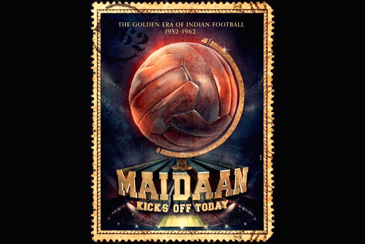 "Poster of Amit Sharma's film ""Maidaan"" starring Ajay Devgn."