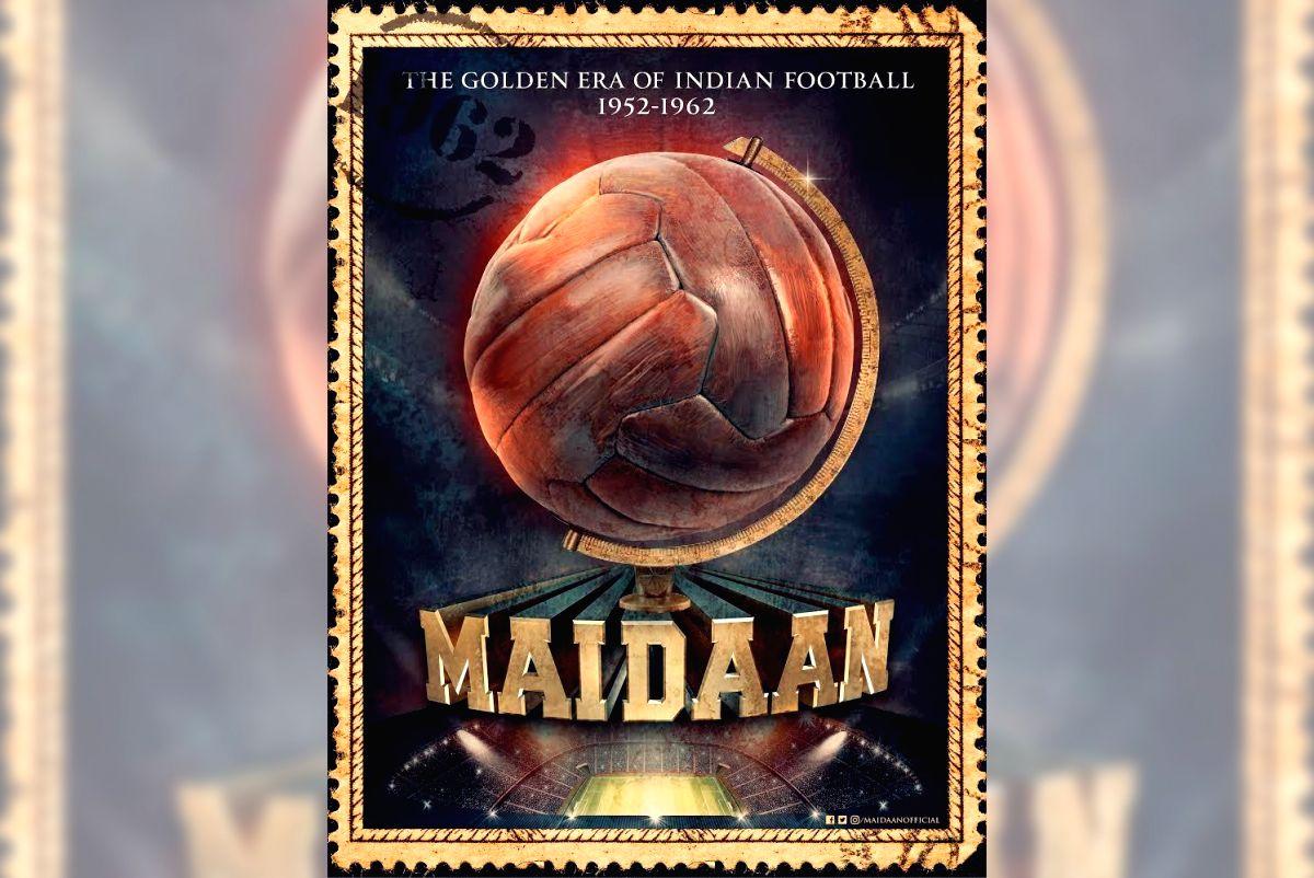 Poster of Maidaan starring actors Ajay Devgn and Keerthy Suresh.