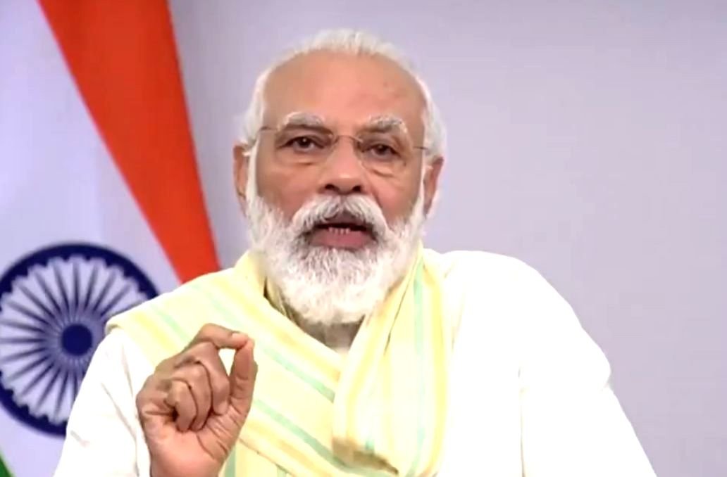 Prime Minister Narendra Modi addresses on the occasion of Word Youth Skill Day via video conferencing from New Delhi on July 15, 2020. (Photo: IANS/PIB)