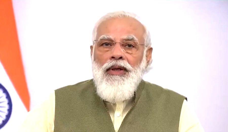 Prime Minister Narendra Modi Addressing the Annual Invest India Conference.
