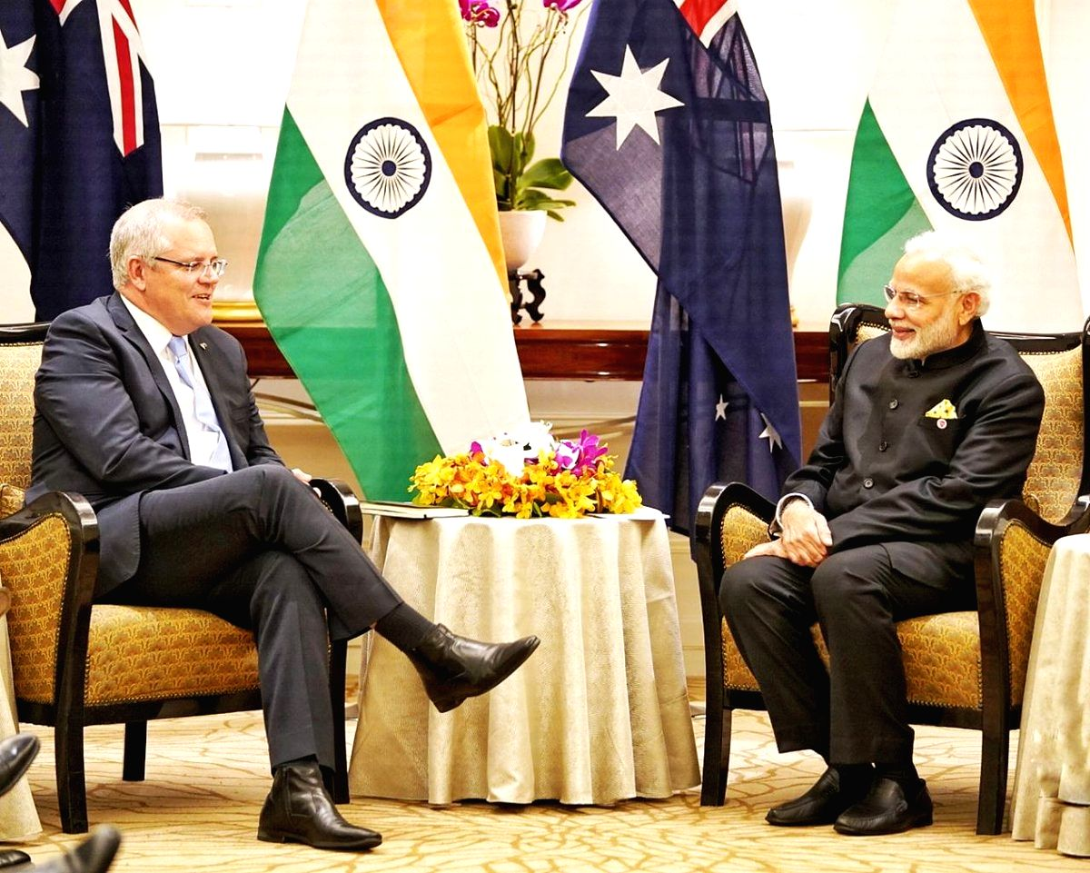Prime Minister Narendra Modi and Australian Prime Minister Scott Morrison. (Photo: IANS/PIB)