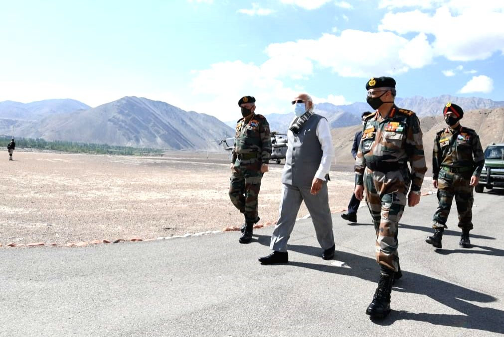 Prime Minister Narendra Modi on a visit to Ladakh to review the ground security situation, amid ongoing tension at borders with China in Eastern Ladakh