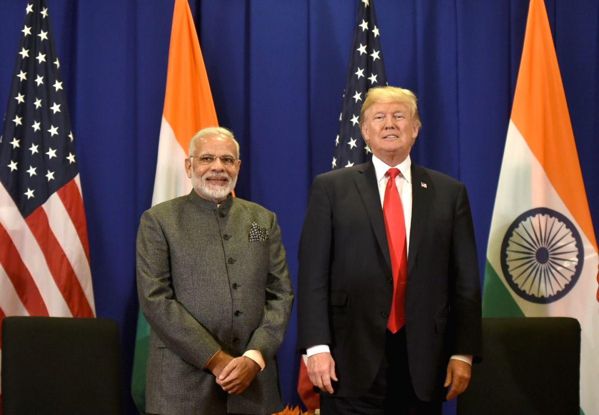 Prime Minister Narendra Modi meets US President Donald Trump. (Photo: IANS/PIB)