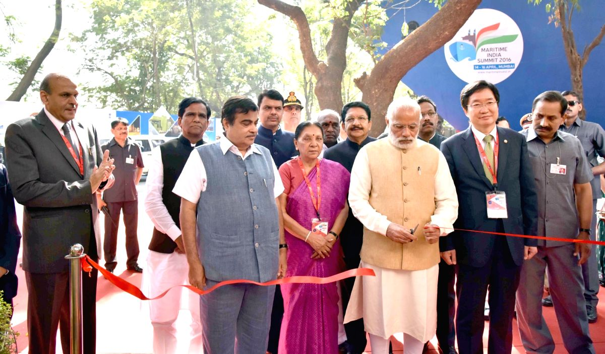 Prime Minister Narendra Modi the Korean exhibition at Maritime India Summit, in Mumbai on April 14, 2016. The Governor of Maharashtra, C. Vidyasagar Rao, the Union Minister for Road Transport ...