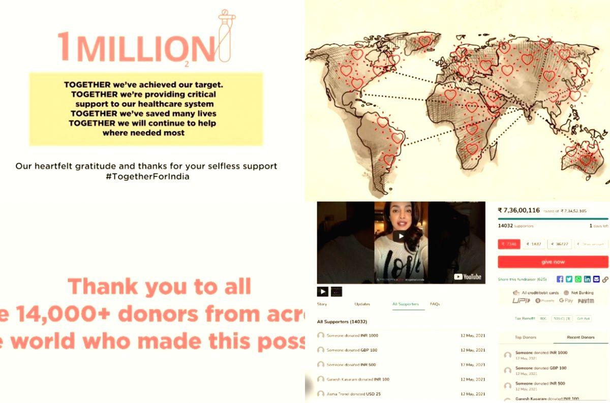 Priyanka Chopra: Over 14,000 good Samaritans helped us raise $1mn.(Photo:Instagram)