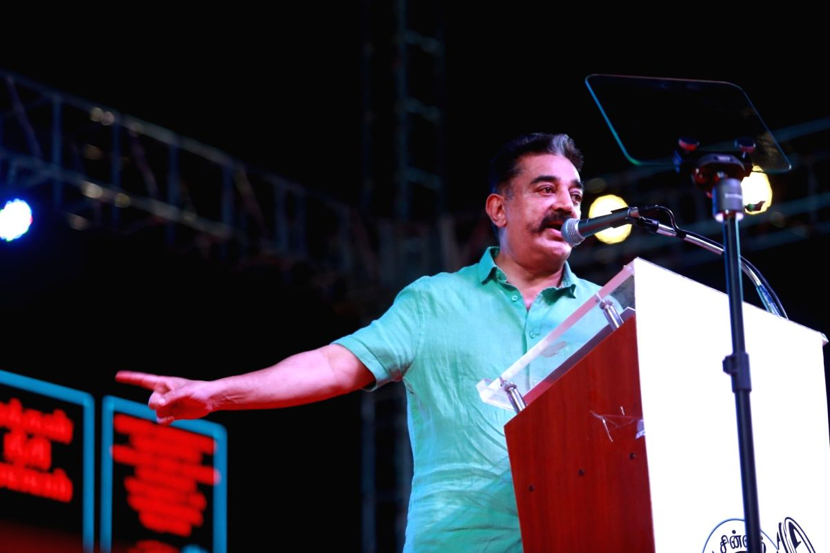 Puducherry: Makkal Needhi Maiam (MNM) President Kamal Haasan addresses during a party rally in Puducherry, on March 31, 2019.