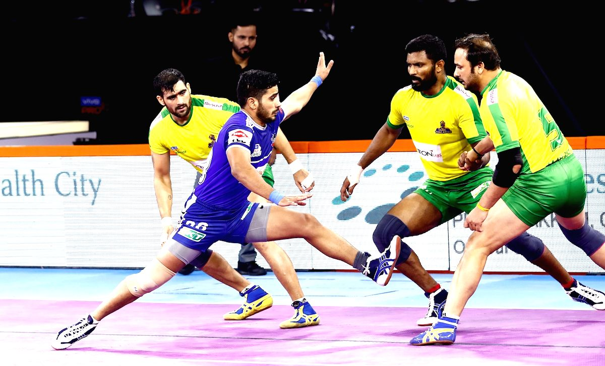 Pune: Players in action during Pro Kabaddi Season 7 match between Tamil Thalaivas and Haryana Steelers at Shree Shiv Chhatrapati Sports Complex in Pune on Sep 14, 2019.